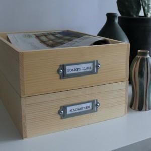 vinkasser brugt som arkivskuffer med arkivbeslag fra kreahobshop