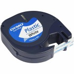 Dymo tape plast, 12 mm, hvid, 4 m