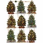 Glansbilleder, 16,5x23,5 cm, juletræ, 3 ark