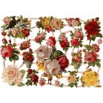 Glansbilleder, 16,5x23,5 cm, nostalgiske roser, 3 ark