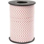 Mønstret gavebånd, 10 mm, hvid m. røde prikker, 250 m