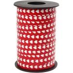 Mønstret gavebånd, 10 mm, rød m. hvide hjerter, 250 m