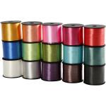 Gavebånd - sortiment, 10 mm, ass. farver, blank, 15x50 m