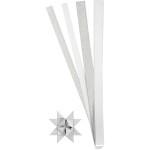 Stjernestrimler, glitter og lak,15+25 mm, hvid/sølv, 40 ass.