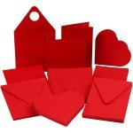 Julekort, 12,5x12,5 cm, rød, 50 sæt