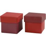 Fold-selv-æske, 5,5x5,5 cm, rød/vinrød, 10 stk.