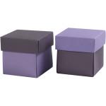 Fold-selv-æske, 5,5x5,5 cm, mørk lilla/lilla, 10 stk.