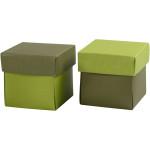 Fold-selv-æske, 5,5x5,5 cm, mørk grøn/lime, 10 stk.