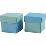 Fold-selv-æske, 5,5x5,5 cm, lys turkis/mørk turkis, 10 stk.