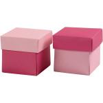 Fold-selv-æske, 5,5x5,5 cm, rosa/pink, 10 stk.