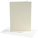 Brevkort, 10,5x15 cm, off-white, 10 sæt