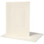 Passepartoutkort, 10,5x15 cm, off-white, rektangulær, 10 sæt