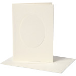 Passepartoutkort, 10,5x15 cm, off-white, oval, 10 sæt