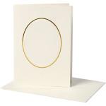 Passepartoutkort, 10,5x15 cm, off-white, oval med guldkant, 10 sæt