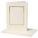 Passepartoutkort, 10,5x15 cm, off-white, rektangulær med guldkant, 10 sæt