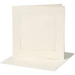 Passepartoutkort, 12,5x12,5 cm, off-white, kvadratisk, 10 sæt