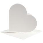 Hjertekort, 12,5x12,5 cm, off-white, 10 sæt
