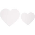Hjerter, 6+8,5 cm, hvid, karton, 50 ass.