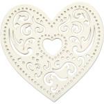 Filigranhjerte, 7,5 cm, hvid, hjerte, 18 stk.