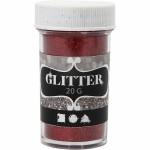 Glitter, 35 mm, rød, 20 g