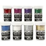 Glitter - sortiment, standard farver, 8x20 g