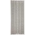 Glitterstickers, 10x24 cm, sølv, borter, 5 ark