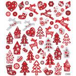 Fancy Glitterstickers, 15x16,5 cm, rød/hvid jul, 1 ark