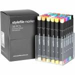 Stylefile marker, 1+2+7 mm streg, 36 ass.