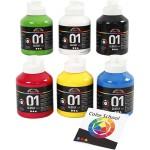 A-Color akrylmaling - farveskole, primær farver, 01 - blank, 6x500 ml