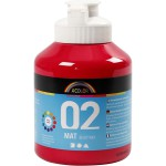 A-Color akrylmaling, primær rød, 02 - mat (plakatfarve), 500 ml