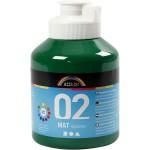 A-Color akrylmaling, mørk grøn, 02 - mat (plakatfarve), 500 ml
