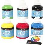 A-Color akrylmaling - farveskole, primær farver, 02 - mat (plakatfarve), 6x500 ml