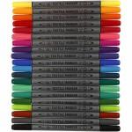 Tekstiltusch, 2,3+3,6 mm streg, 20 farver