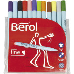 Berol Colourfine, 0,6 mm streg, 12 ass.