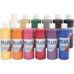 Plus Color hobbymaling, klassiske farver, 12x250 ml