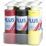 Plus Color hobbymaling - farveskole, primær farver, 6x250 ml