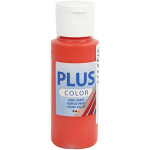 Plus Color hobbymaling, brilliant rød, 60 ml