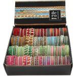 Dekorationsbånd, 8-12 mm, pink, grøn, blå, rød, 64x1,8 m