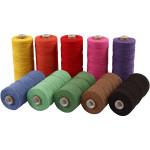 Knyttegarn, 320 m, stærke farver, Tynd kvalitet 12/12, 10x250 g