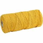 Knyttegarn, 120 m, gul, Tyk kvalitet 12/36, 250 g