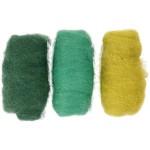 Kartet uld, grøn/turkis harmoni, 3x10 g