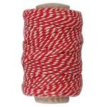 Bomuldssnor, 1,1 mm, rød/hvid, 50 m