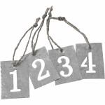 Adventstal, zink tags med udskåret nr. 1 - 4, 4x2,7 cm, jutesnor