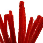 Chenille, 15 mm, rød, 15 stk.