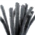 Chenille, 15 mm, grå, 15 stk.