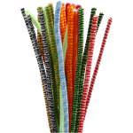 Chenille, 6 mm, ass. farver, multifarver/striber, 30 ass.
