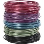 Alutråd - sortiment, 3 mm, ass. farver, 5 rl.