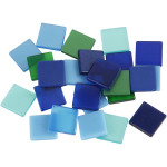 Minimosaik, 10x10 mm, blå/grøn harmoni, 25 g