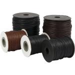 Bomuldssnøre, 5x100 m. 3 rl. sort, 0,6+1+2 mm. 2 rl. brun 1+2 mm.