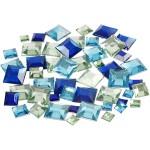 Rhinsten, 6+9+12 mm, blå harmoni, firkantede, 360 ass.